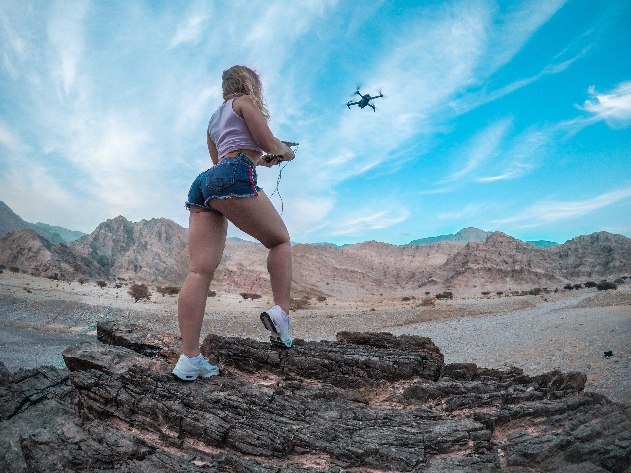 Low Angle drone girl